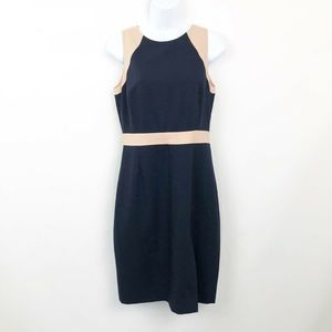 J Crew Gwen Color Block Sheath Dress Navy/Tan